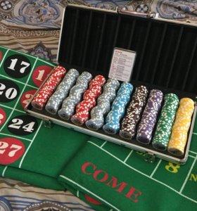Покерный набор на 500 фишек и 2 накладки на стол