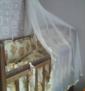 Кроватка+матрац+бортики балдахин