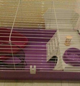 Клетка для грызуна(кролик) с аксессуарами и кормом