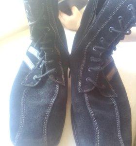 Утепленые замша сапоги ботинки