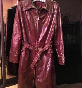 Пальто плащ натуральная кожа как новый 46 размер