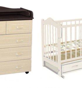 Новый набор мебели. Кровать и комод