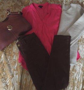 Блузка, брюки, свитер, сумка