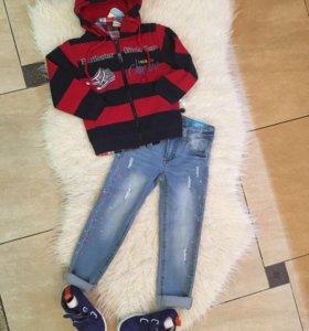 Толстовка+лонгослив+рубашка+кеды джинсовые