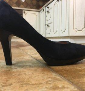 Туфли замшевые синие размер 37