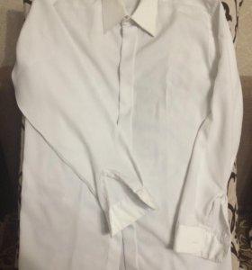 Рубашка белая шелковая Б/у