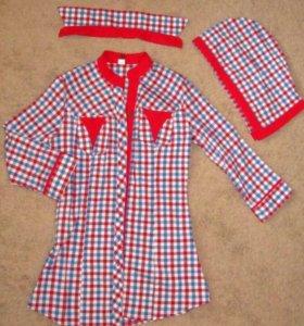 Рубашка стрейч,удлинённая