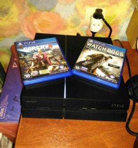 PlayStation 4 матовая + 2 диска