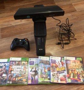 Xbox 360 250gb+Kinect + диски с играми (лицензия)