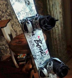 Сноуборд + крепления + боты + чехол