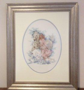 """Продам картину вышитую крестом """"Девушка с лошадью"""