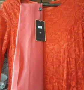 Новое вечернее длинное платье, кружевное (красное)