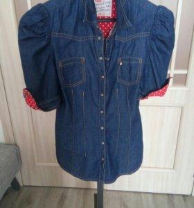 Джинсовая брендовая рубашечка размер 42-44