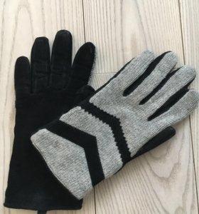 Перчатки женские замшевые с шерстяной вязкой