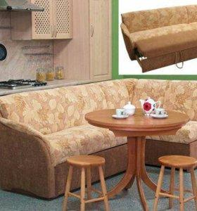 Кухонный угловой диван-кровать ткань со спальным м