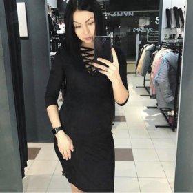 Замшевое платье со шнуровкой