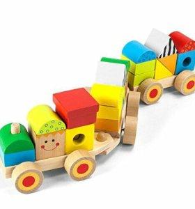 игрушка деревянная пирамидка поезд