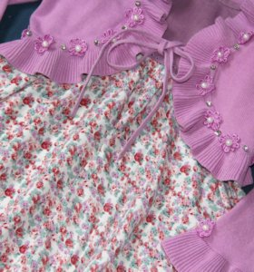 Платье, кофта, заколки. Р-р 98