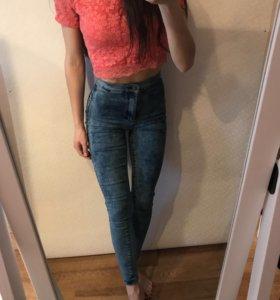 Узкие джинсы с высокой талией TOPSHOP