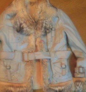 Курточка с мехом внутри, натуральная