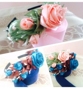 Ободок с композицией из роз