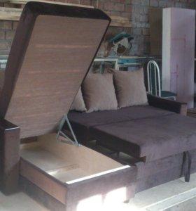 Угловые диваны на заказ с пуфиком в подарок