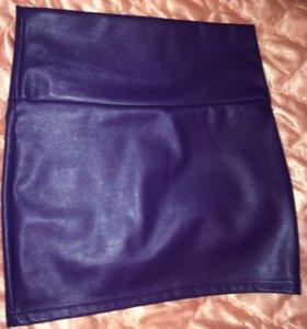 Кожаная юбка фиолетовая новая