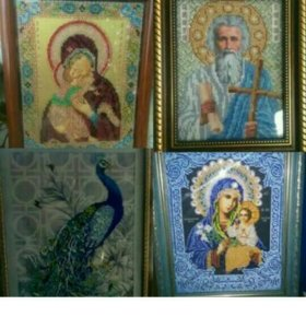 Продам иконы и картины вышитые бисером