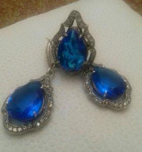 сережки и кольцо серебро