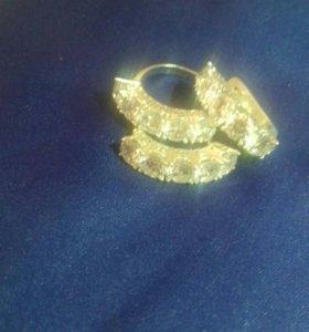 серебро сережки кольцо