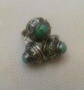 кольцо и сережки серебро