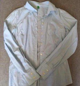Рубашка benneton белая в голубую полоску