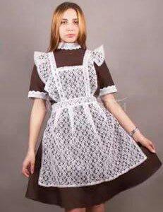 Форменное школьное платье(коричневое),