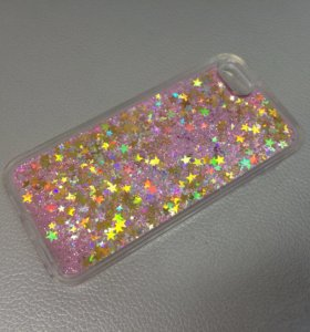 Чехол iPhone 5/5s/SE жидкие блестки/розовый-золото