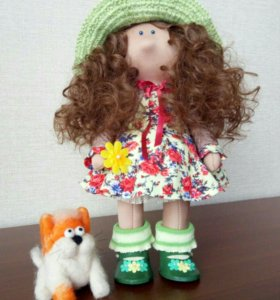 "Текстильная куколка и кот ""Бурбон"""