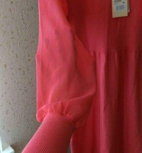 Платье караллового цвета новое.