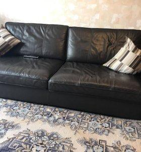 Кожаный диван от икея