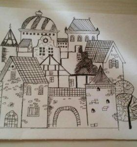 """Картина капилярной ручкой """"Старый город"""""""