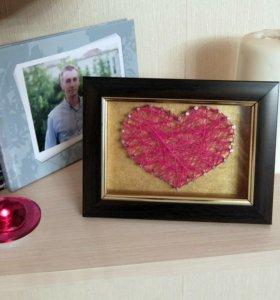 Подарок Сердце стринг-арт