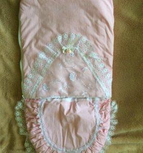 Конверт на выписку нежно-розовый + одеялко
