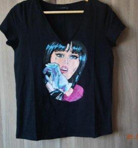 Готовая футболка с ручной росписью красками