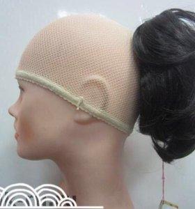 Шиньон, коричневый волос