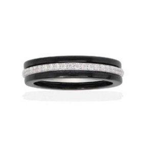 Кольцо керамика серебро 17.5