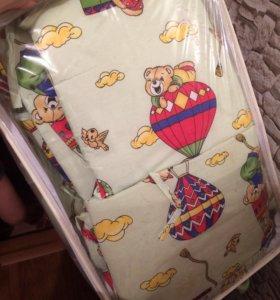 Бортики и подушечка в кроватку