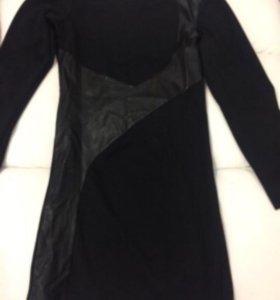 Платье с кож вставками 42-44-46