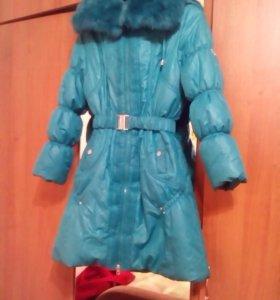 Пальто для девочки + шапка (воротник из кролика)