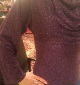 Кофта блузка с люрексрм фиолетовая
