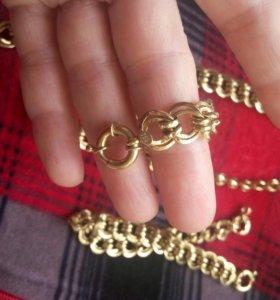 Золотая цепочка и браслет( комплект).