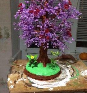Деревья из бисера , ручная работа