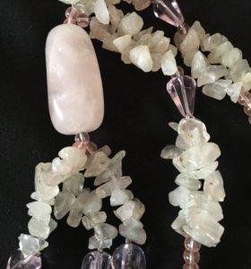 бусы натуральный камень розовый кварц